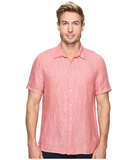 Perry Ellis Short Sleeve Solid Linen Shirt - Mineral Red