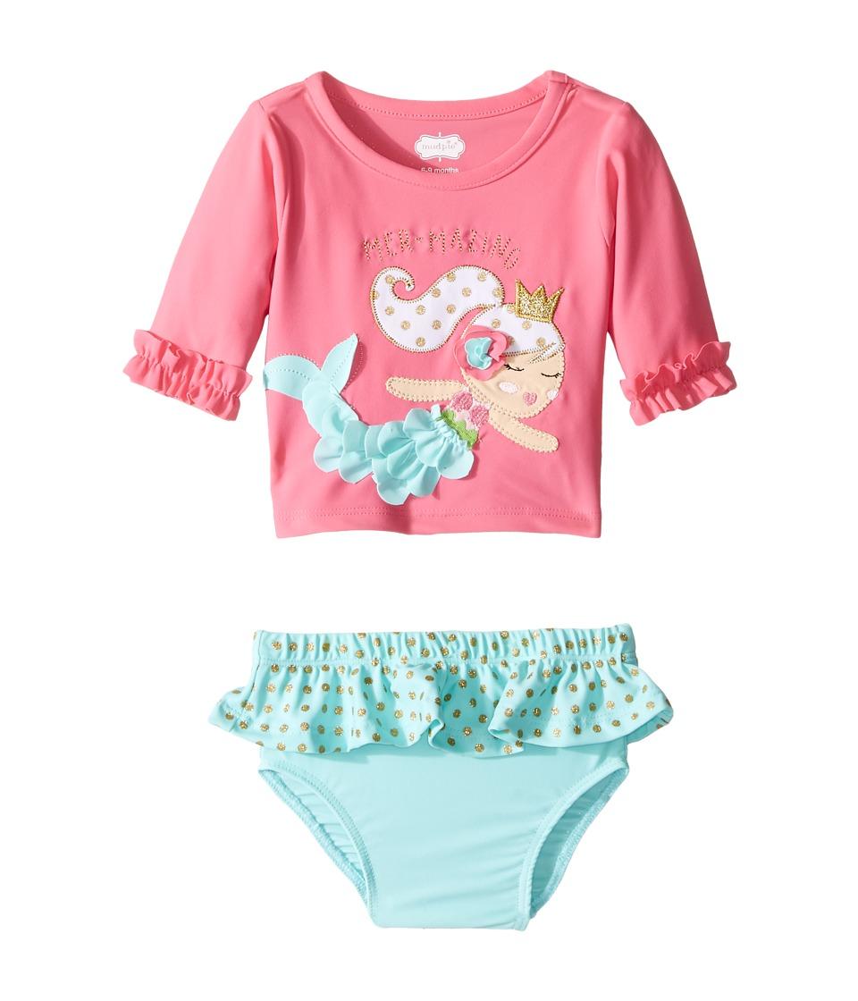 Mud Pie Mermaid Rashguard Bikini Set (Infant) (Pink) Girl
