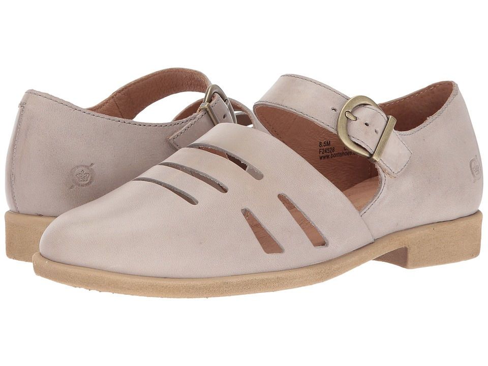 Vintage Style Sandals – 1930s, 1940s, 1950s, 1960s Born - Jane Light Grey Full Grain Leather Womens Shoes $95.00 AT vintagedancer.com