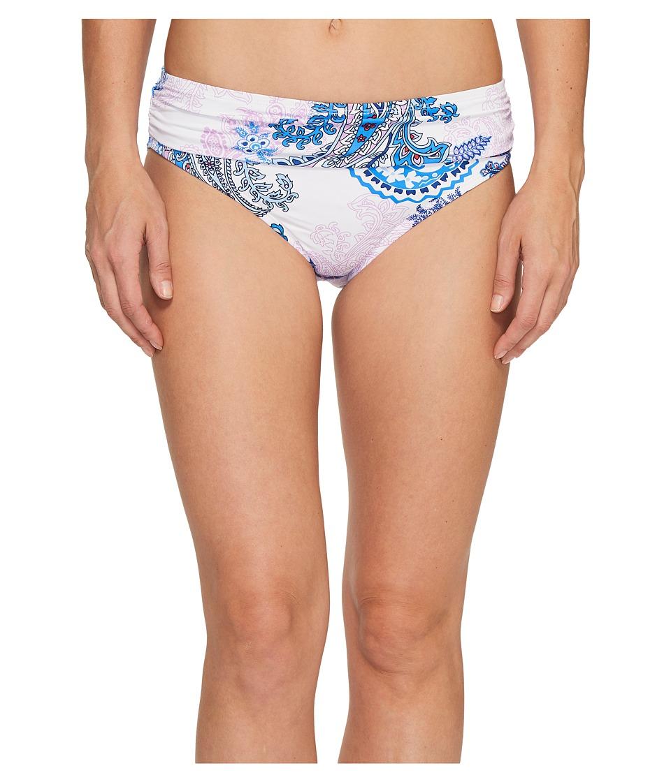 Tommy Bahama Paisley Leaves High-Waist Sash Bikini Bottom (White) Women