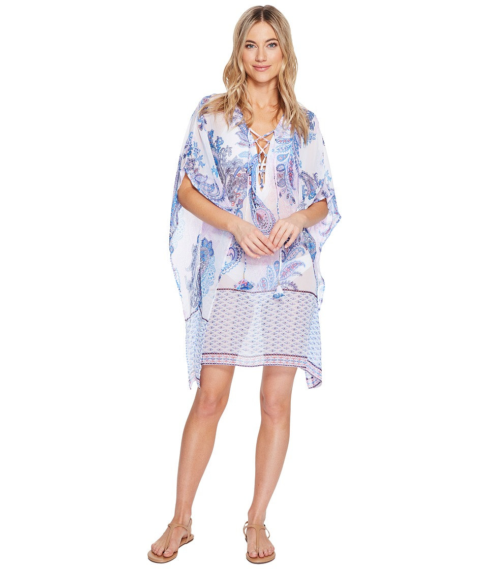 Tommy Bahama Paisley Leaves Lace-Up Tunic Cover-Up (White)