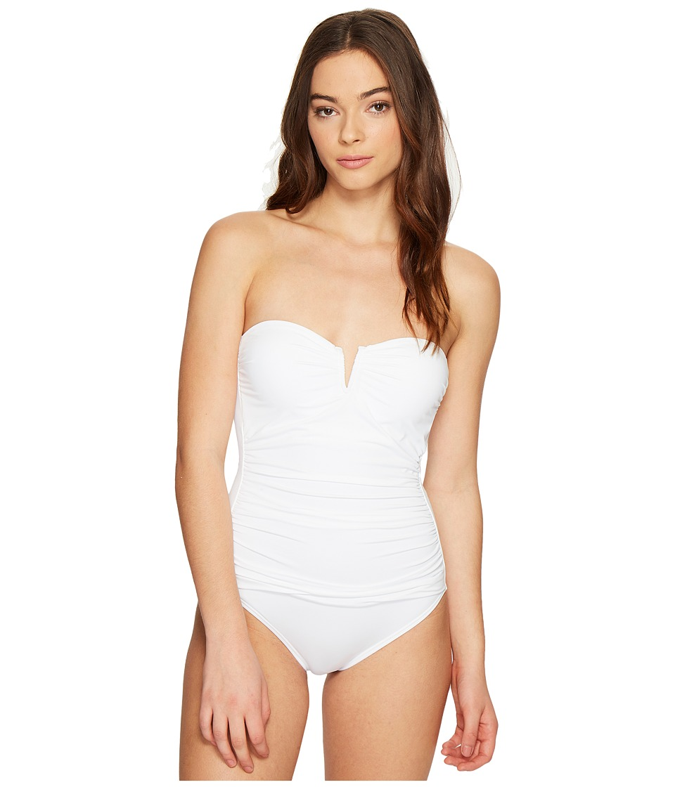 Tommy Bahama Pearl V-Front Bandeau One-Piece Swimsuit (White) Women's Swimsuits One Piece