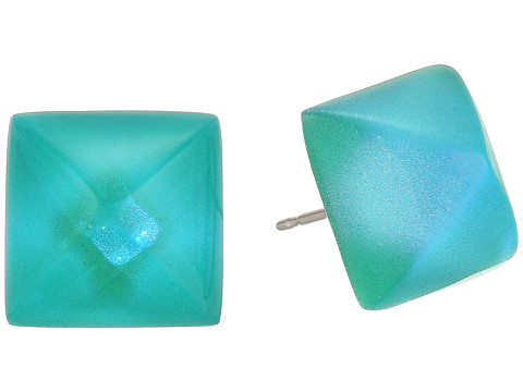 Alexis Bittar Pyramid Post Earrings - Turquoise Opalescent Clear