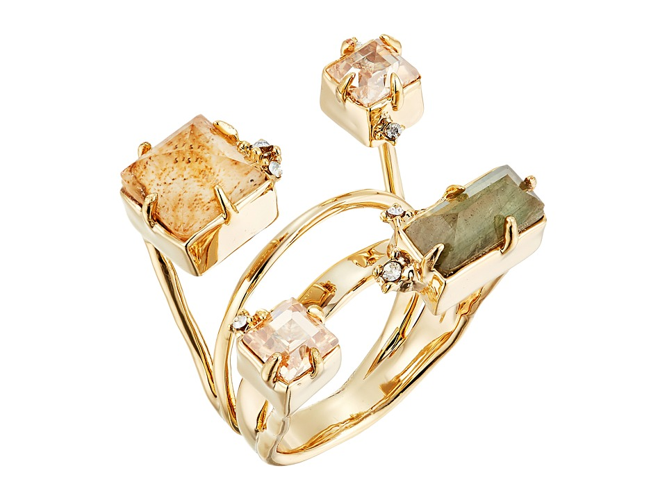 Alexis Bittar - Geometric Multi Stone Ring with Satellite Crystal Detail (10K Gold) Ring
