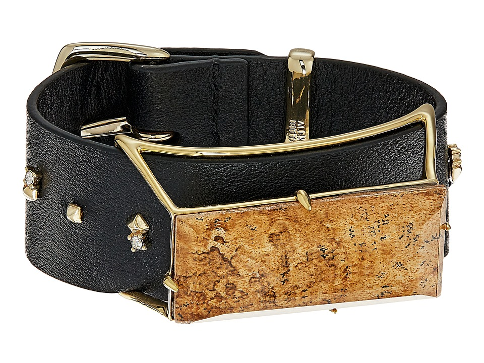 Alexis Bittar Alexis Bittar - Geometric Leather Band Buckle Bracelet with Custom Baguette