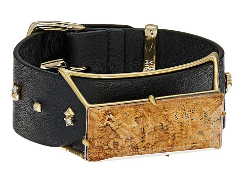 Alexis Bittar Geometric Leather Band Buckle Bracelet with Custom Baguette - 10K Gold