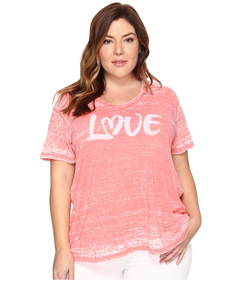 Allen Allen Plus Size Love Print High-Low Tee (Begonia) Women