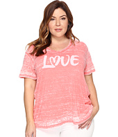 Allen Allen - Plus Size Love Print High-Low Tee