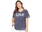 Plus Size Love Print High-Low Tee