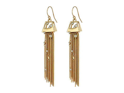 Alexis Bittar Geometric Tassel Wire with Crystal Detail Earrings