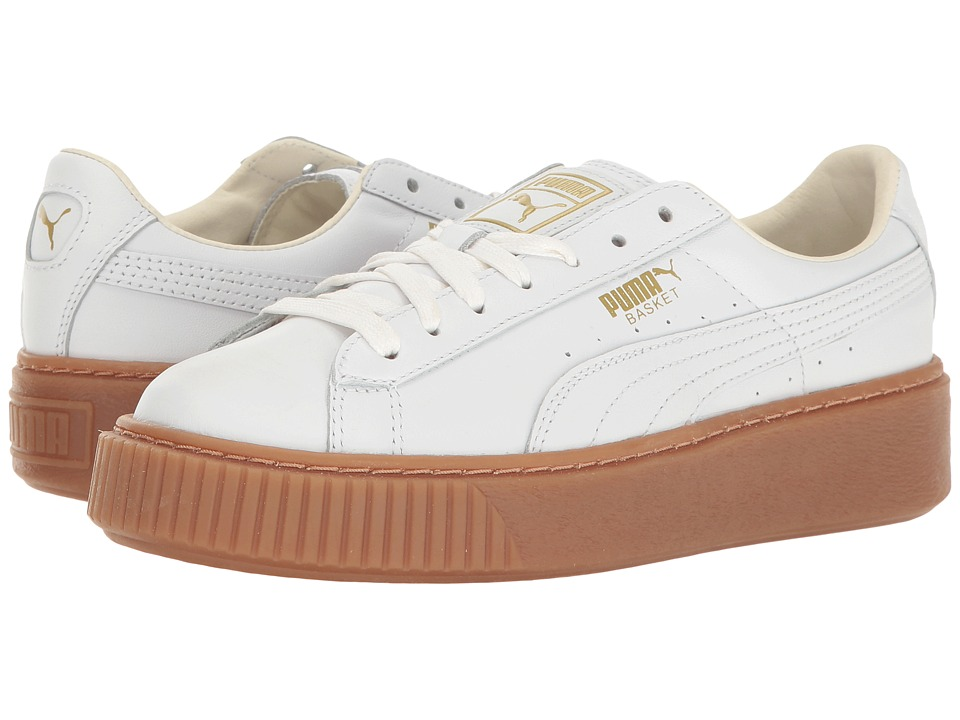 PUMA - Basket Platform Core (Puma White/Puma White) Womens Shoes