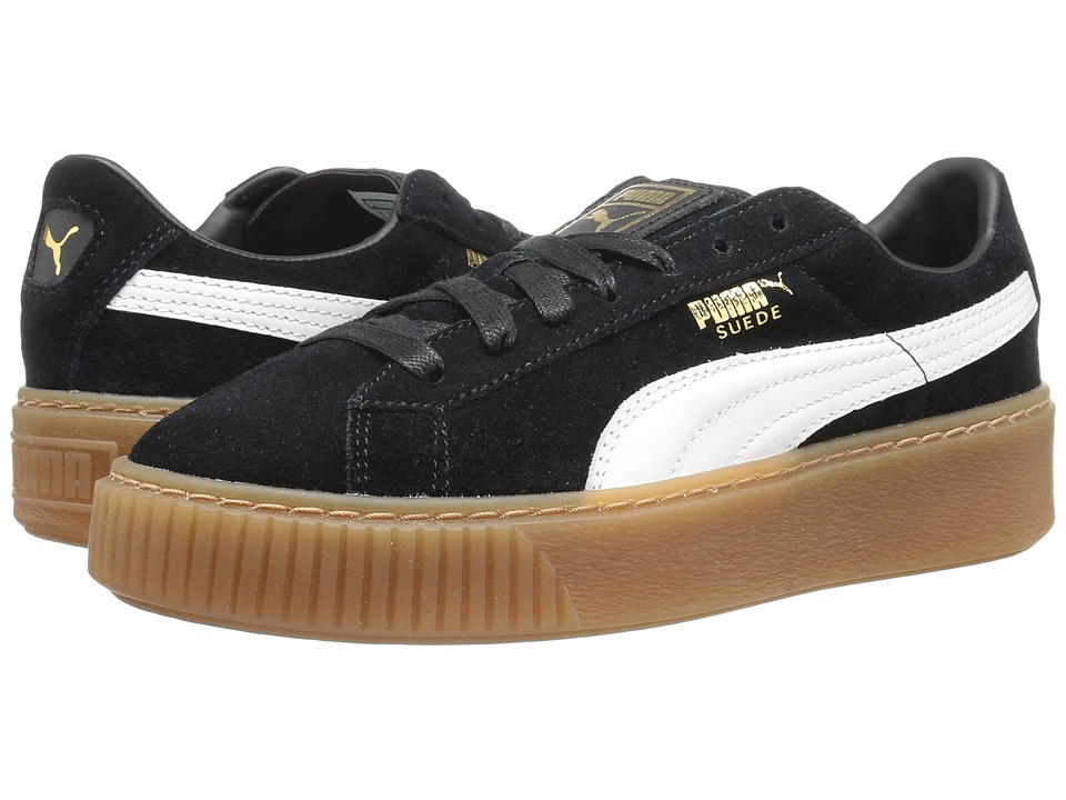 PUMA - Suede Platform Core (Puma Black/Puma White) Womens Shoes