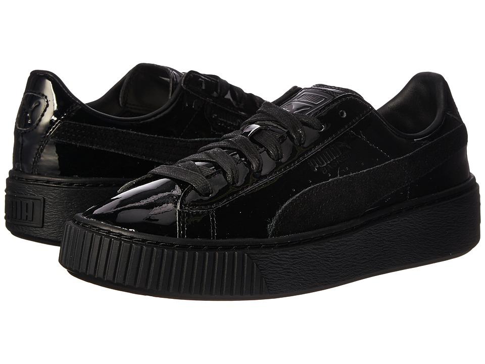 PUMA - Basket Platform Patent (Puma Black/Puma Black) Womens Shoes