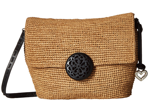 Brighton Madra Raffia Flap Bag - Black/Flax