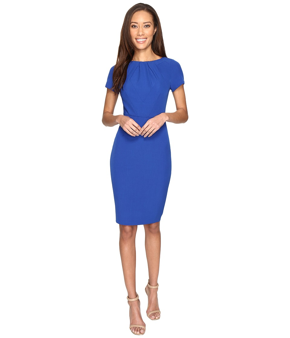 Adrianna Papell - Stretch Crepe Sheath Dress with Seamed and Tucked Bodice