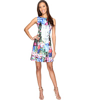Adrianna Papell - Printed Geo Corsage Seamed A-Line Dress