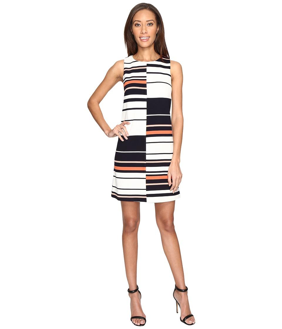 Adrianna Papell - Sleeveless Ottoman Stripe Shift Dress