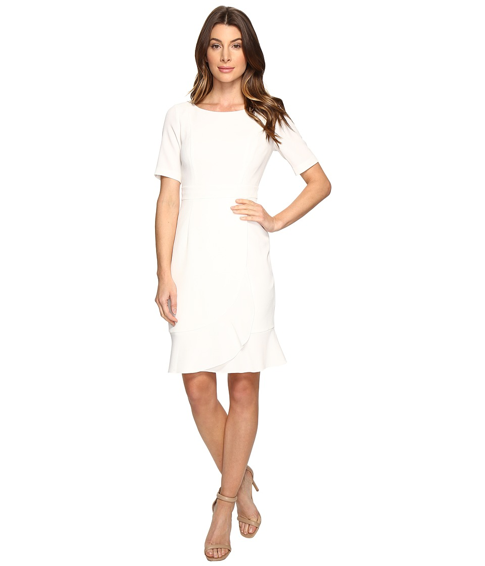Adrianna Papell - Line Bateaux Neckline Sheath Dress with Wrapped Skirt Detail