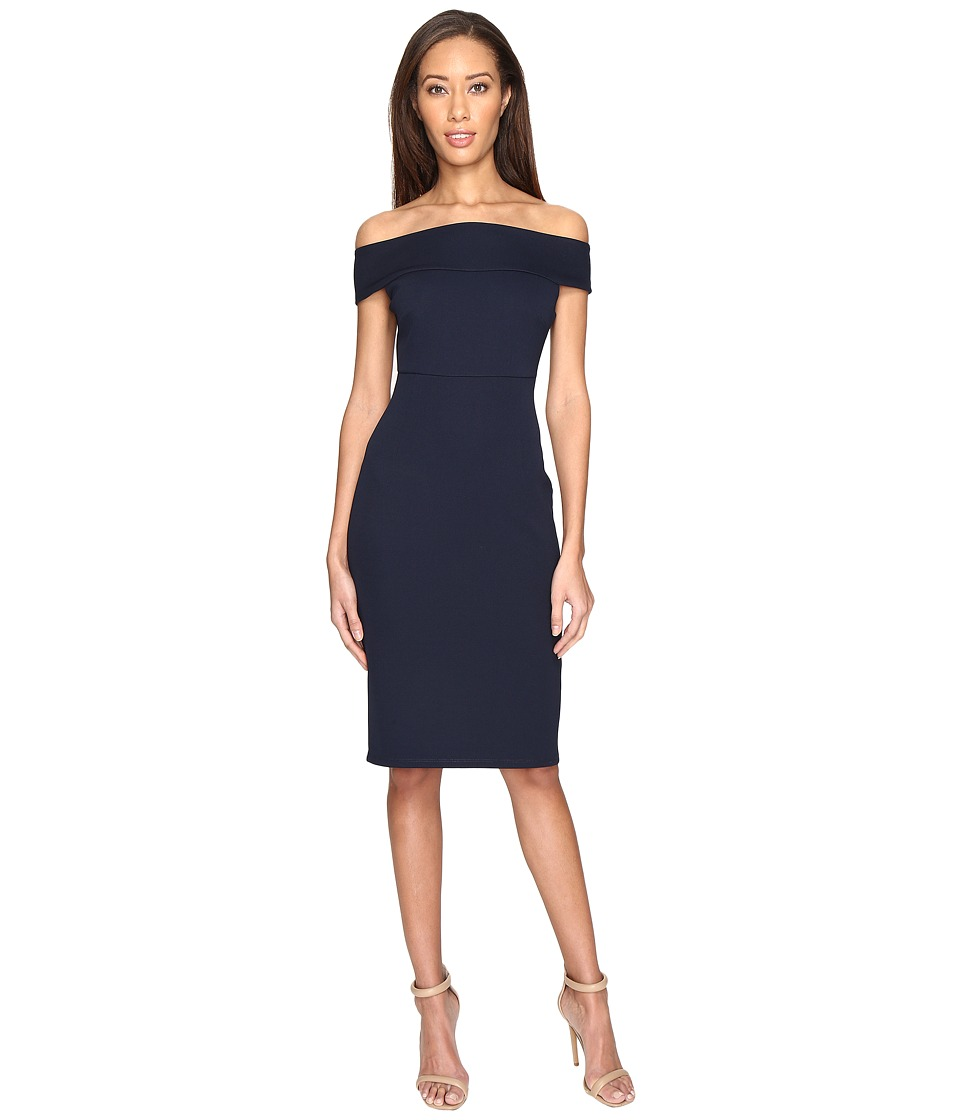 Adrianna Papell - Off Shoulder Color Block Fitted Dress