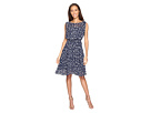 Printed Dot Fit and Flare Dress with Blouson Bodice