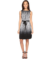 Adrianna Papell - Printed Miami Mesh Fit and Flare Dress with Full Pleated Skirt