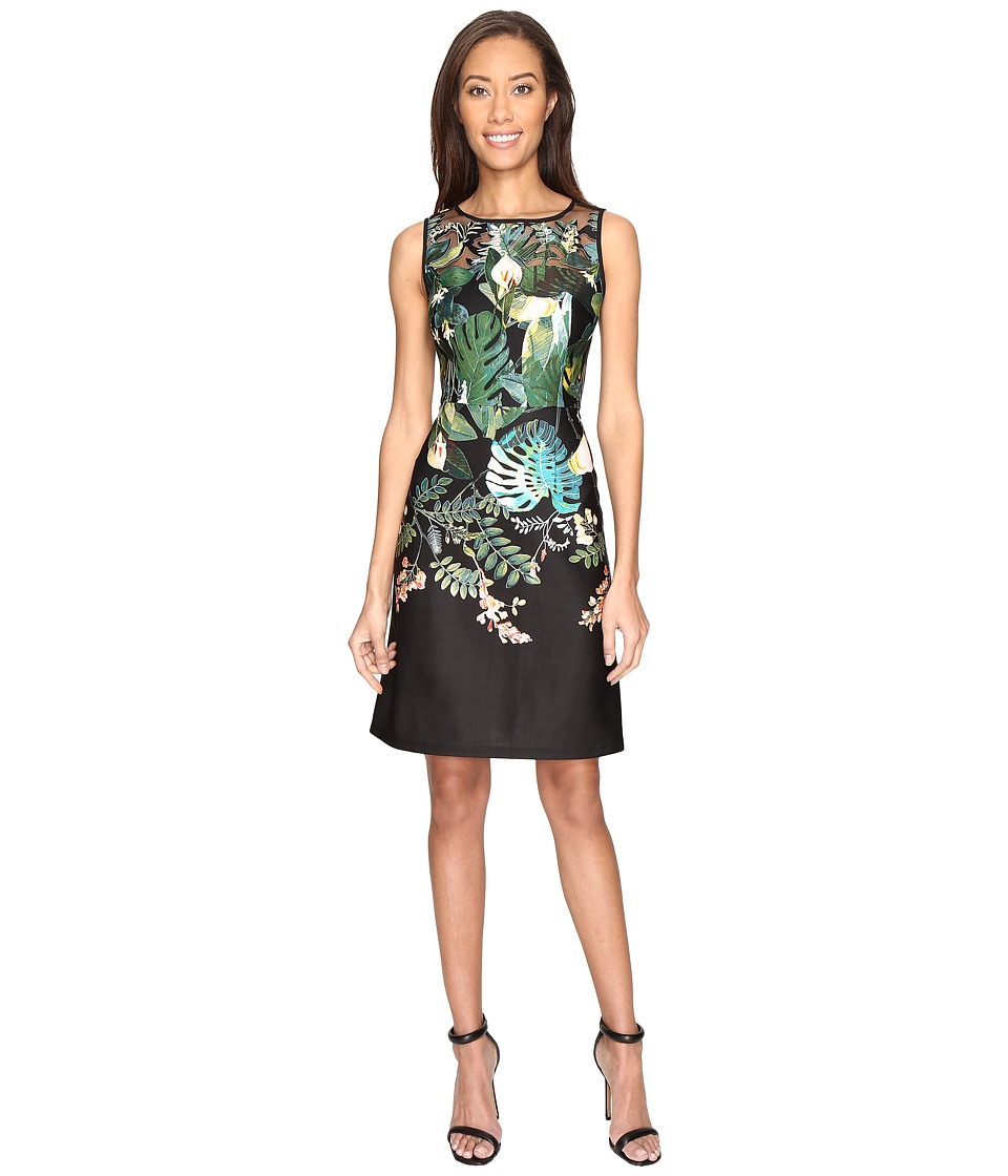 Adrianna Papell - Leafy Oasis Scuba A-Line Dress with Laser Cut Design