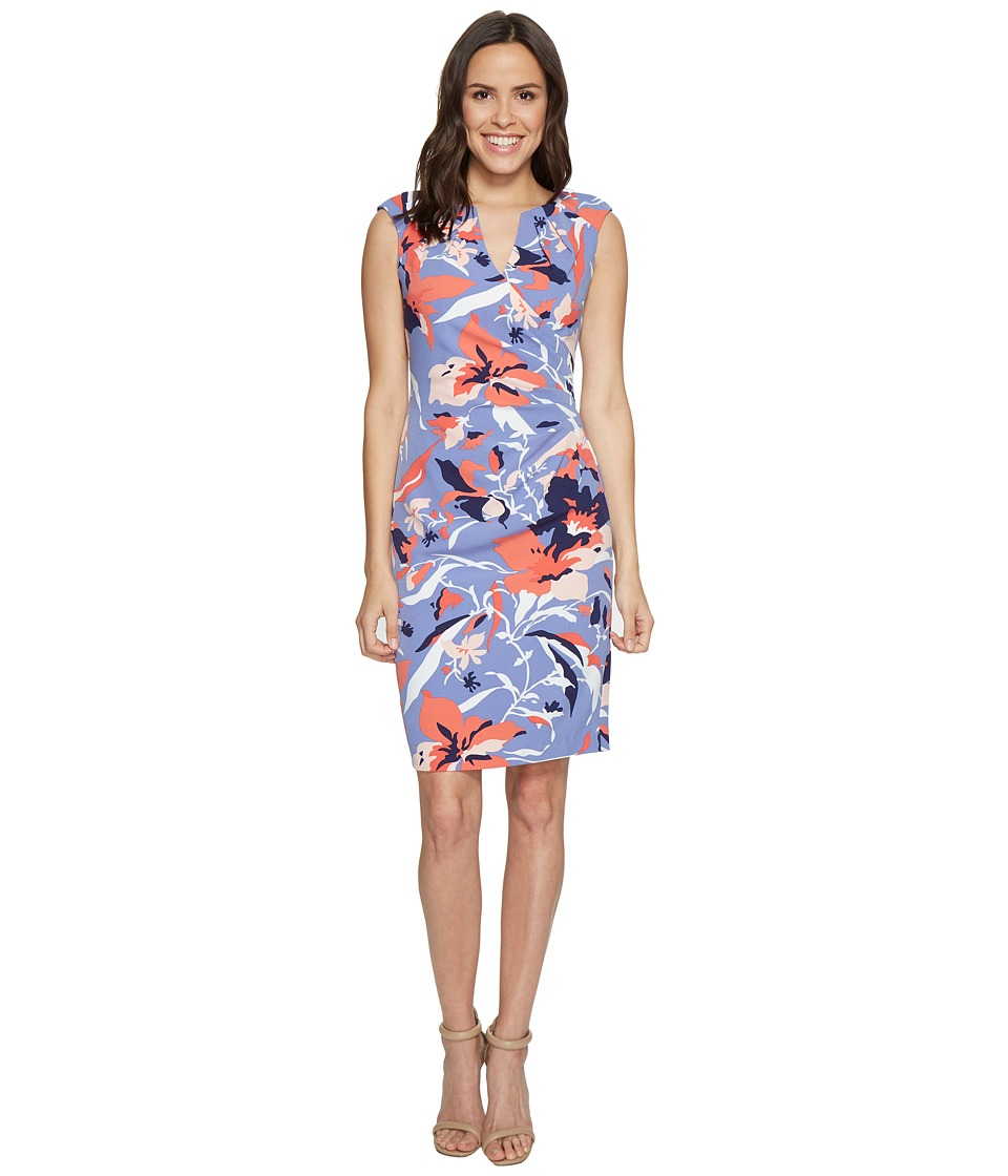 Adrianna Papell Adrianna Papell - Printed Stretch Crepe Side Drape Dress