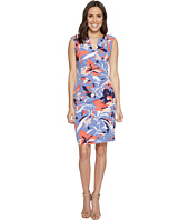 Adrianna Papell - Printed Stretch Crepe Side Drape Dress