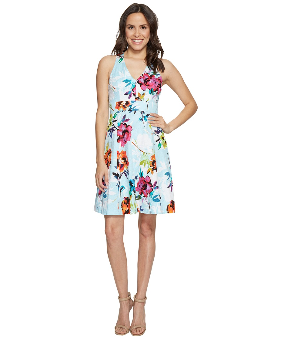Adrianna Papell Marlowe Posy Printed Jacquard Fit and Fla...
