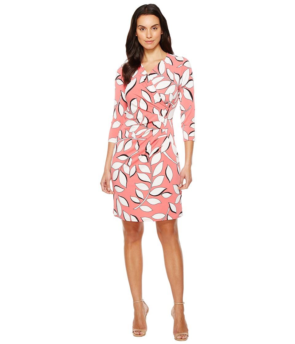 Adrianna Papell - V-Neck 3/4 Sleeve Wrap Dress