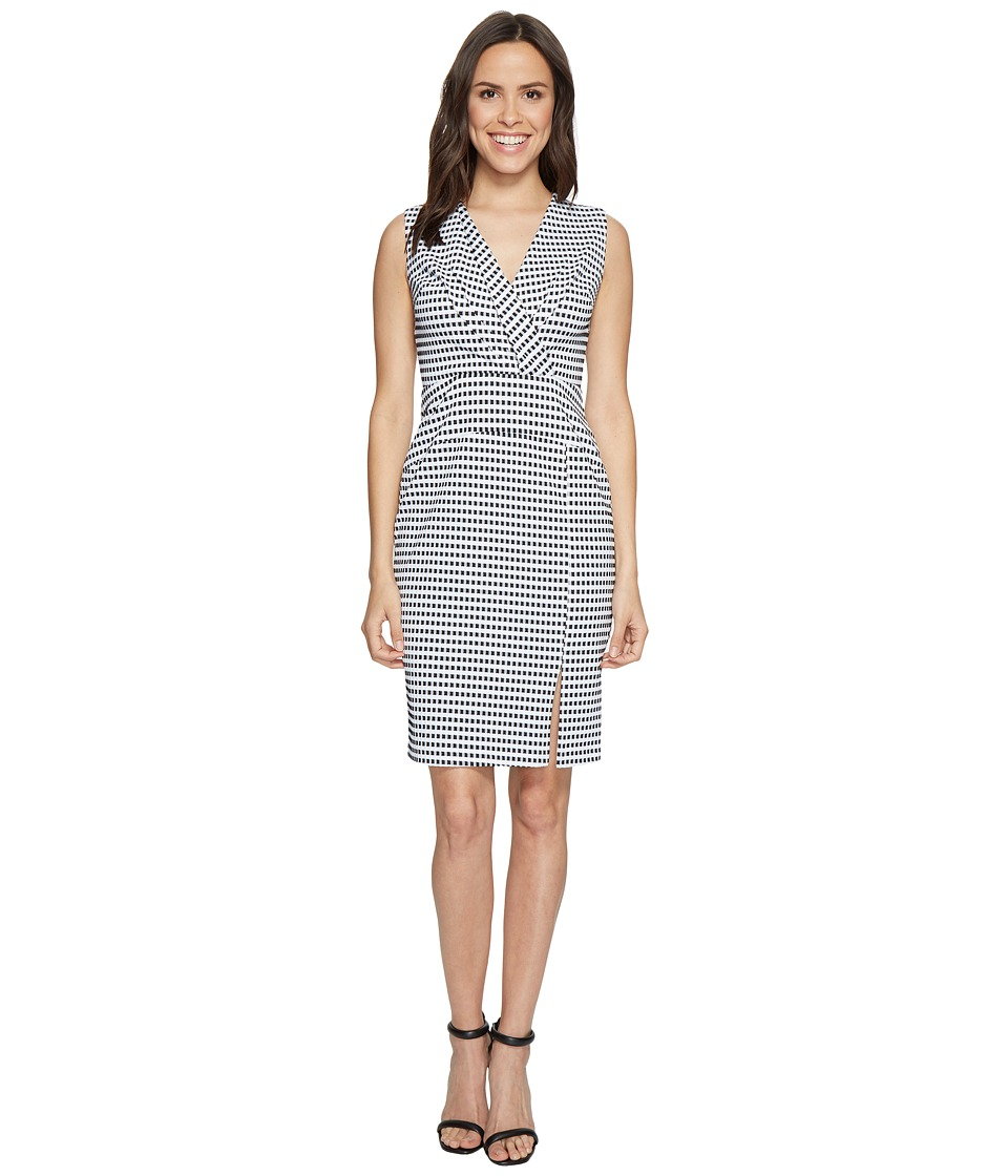 Adrianna Papell Gingham Check Sleeveless CF Fold Detail F...