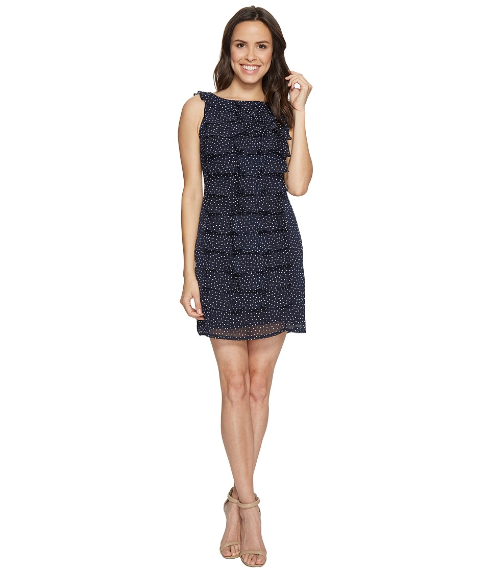 Adrianna Papell - Dot Printed Crinkle Chiffon Shift Dress