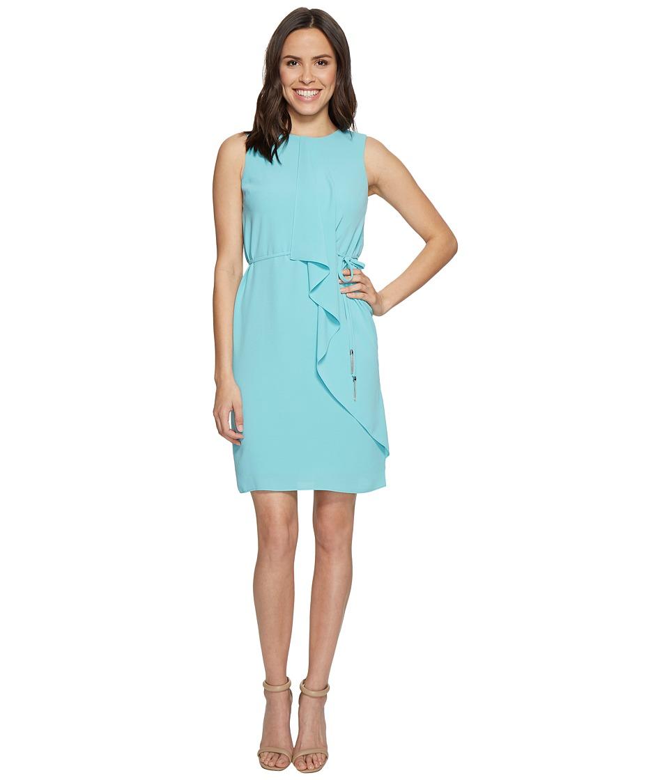 Adrianna Papell - Gauzy Crepe Draped Front Dress