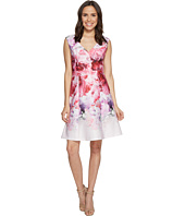 Adrianna Papell - Peony Cloud Printed Scuba Surplus Fit and Flare Dress