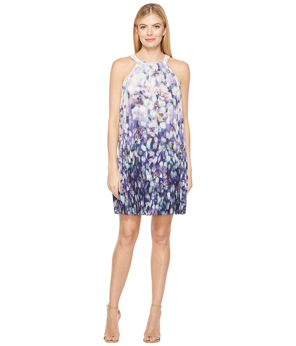 Adrianna Papell - Fading Splendor Printed Stretch Chiffon Pleated Trapeze Dress