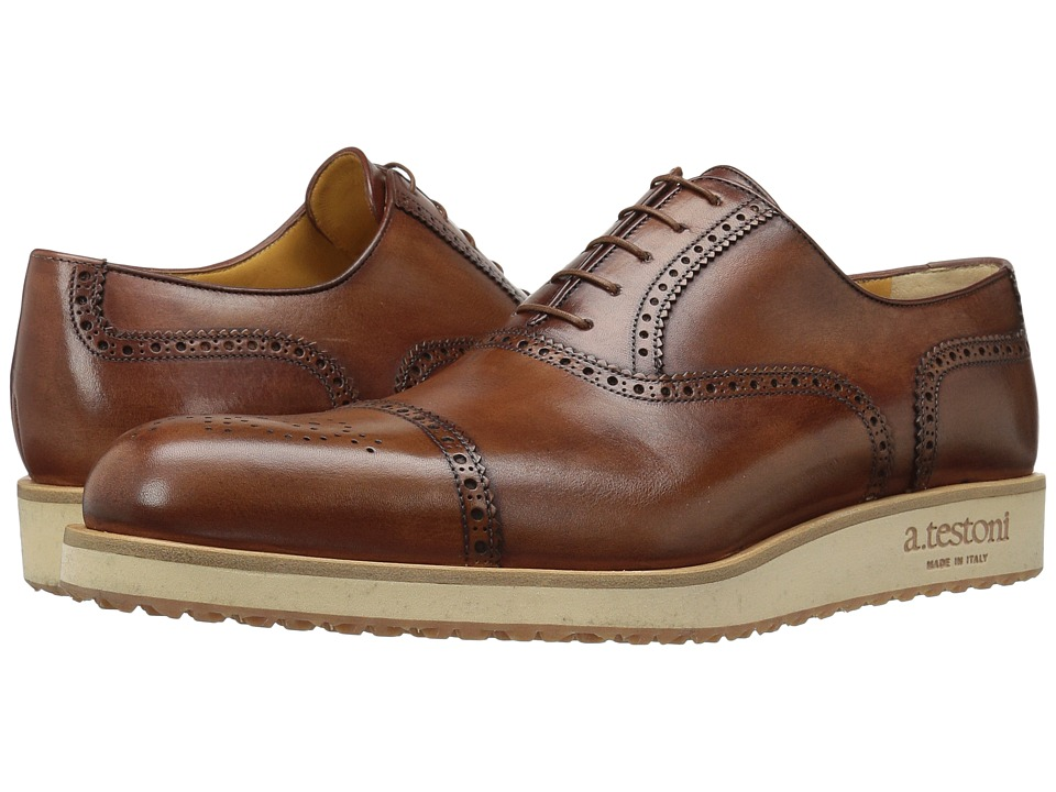 Image of a. testoni - Antiqued Medallion Toe Sneaker (Caramel) Men's Lace Up Wing Tip Shoes