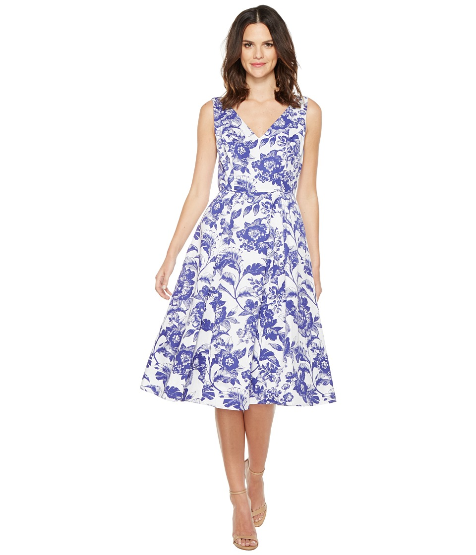 Adrianna Papell - Printed Cotton Faille Fit and Flare Midi Dress