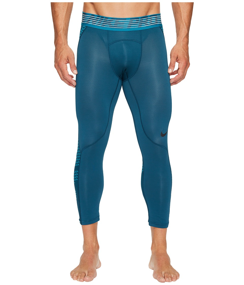Nike Pro Hypercool 3/4 Training Tight (Space Blue/Blustery/Black) Men