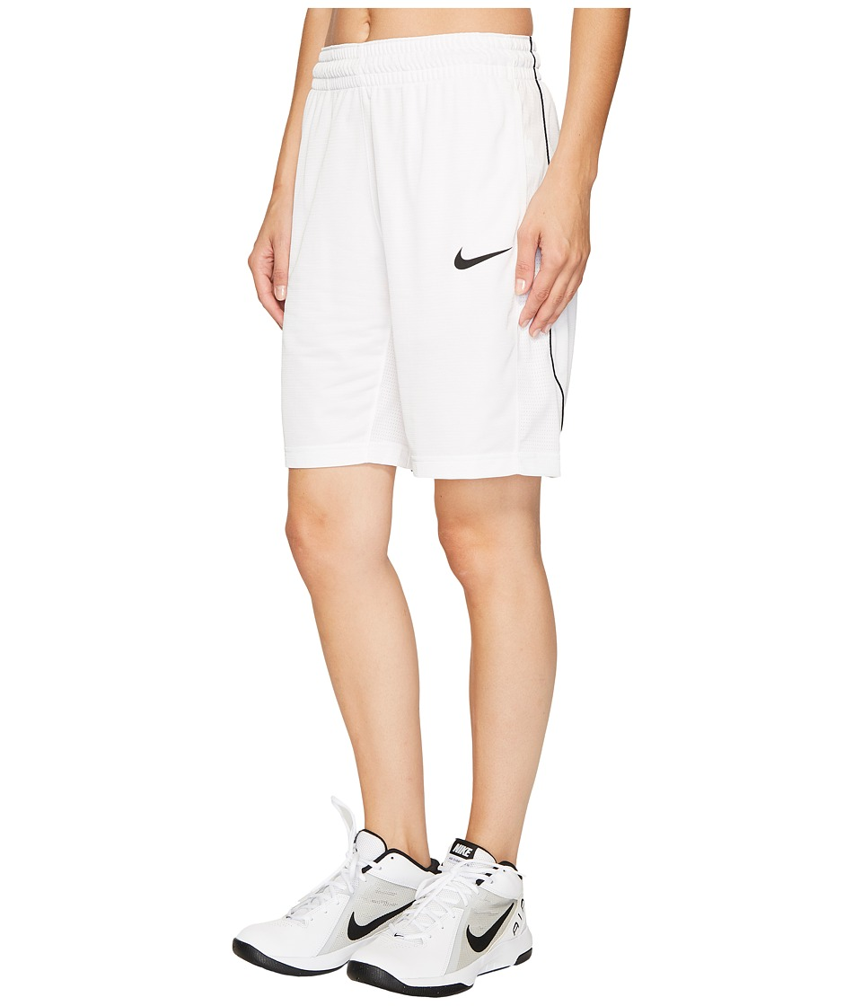 Nike Dry Essential 10 Basketball Short (White/White/Black/Black) Women