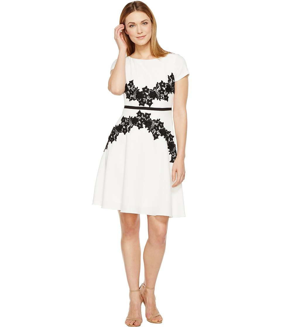 Adrianna Papell Cap Sleeve Fit and Flare Dress (Ivory/Black) Women