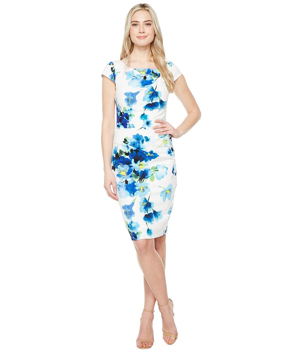 Adrianna Papell - Printed Poppy Petal Stretch Crepe Drape Neck Sheath Dress
