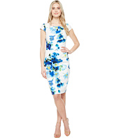 Adrianna Papell - Printed Poppy Petal Stretch Crepe Drape Neck Sheath Dress
