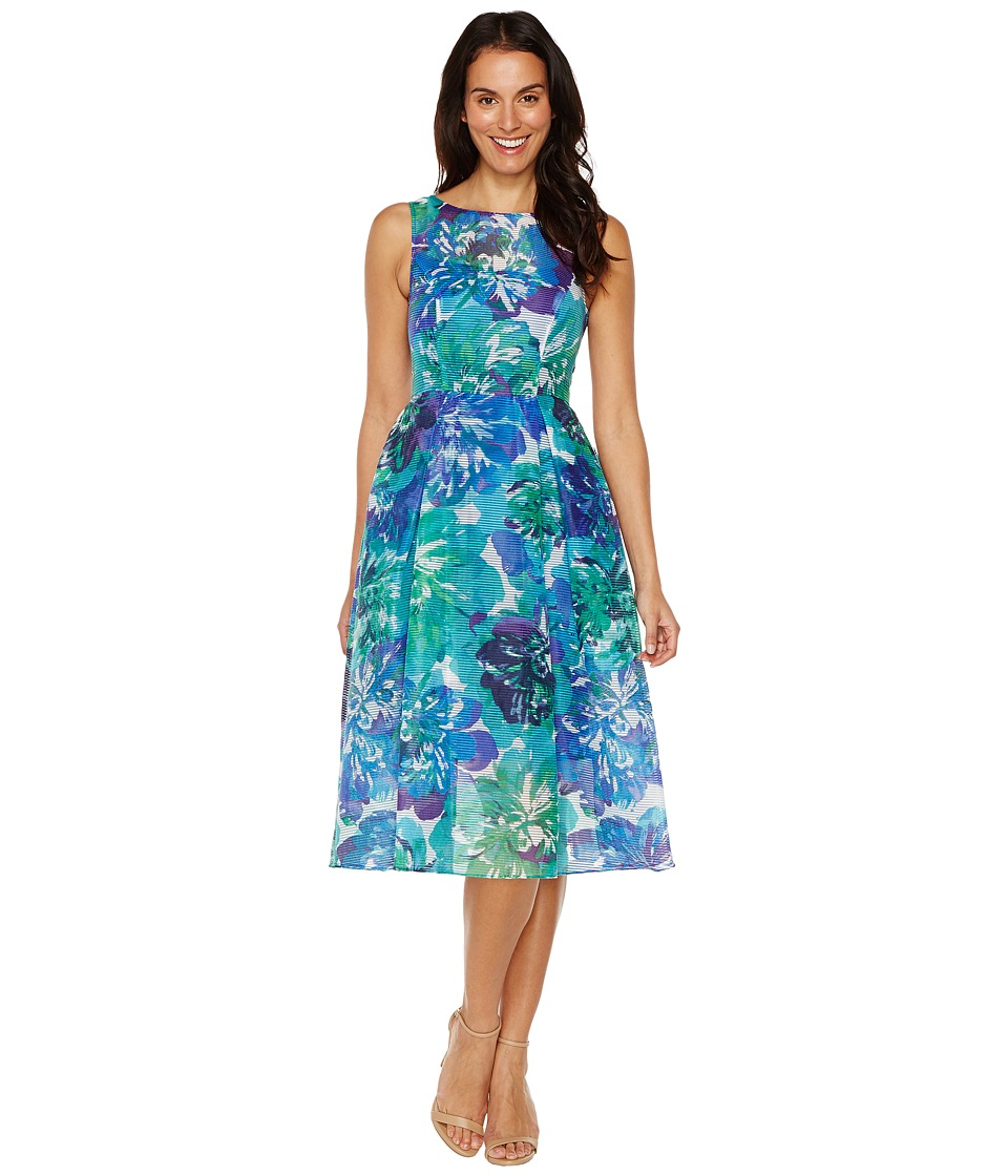Adrianna Papell - Printed Ribbed Organza Fit and Flare Midi Dress