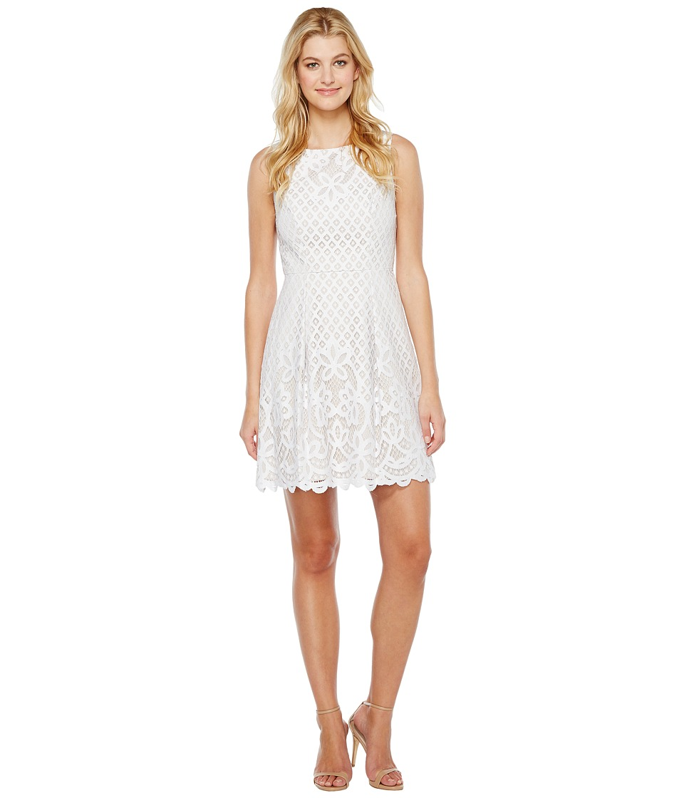 Adrianna Papell Giselle Lace Fitand Flare Dress (White/Ch...