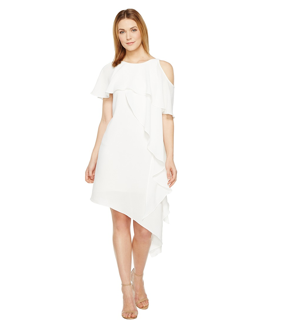 Adrianna Papell - Novelty Gauzy Crepe Cold Shoulder Asymmetric Dress