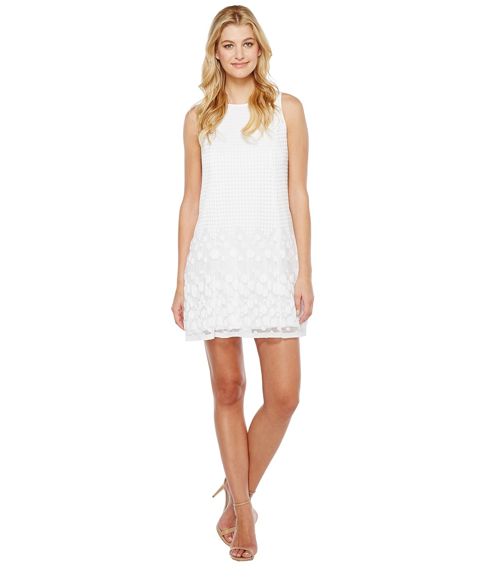 Adrianna Papell Pleated Plaid Dot Trapeze Dress (Ivory) W...