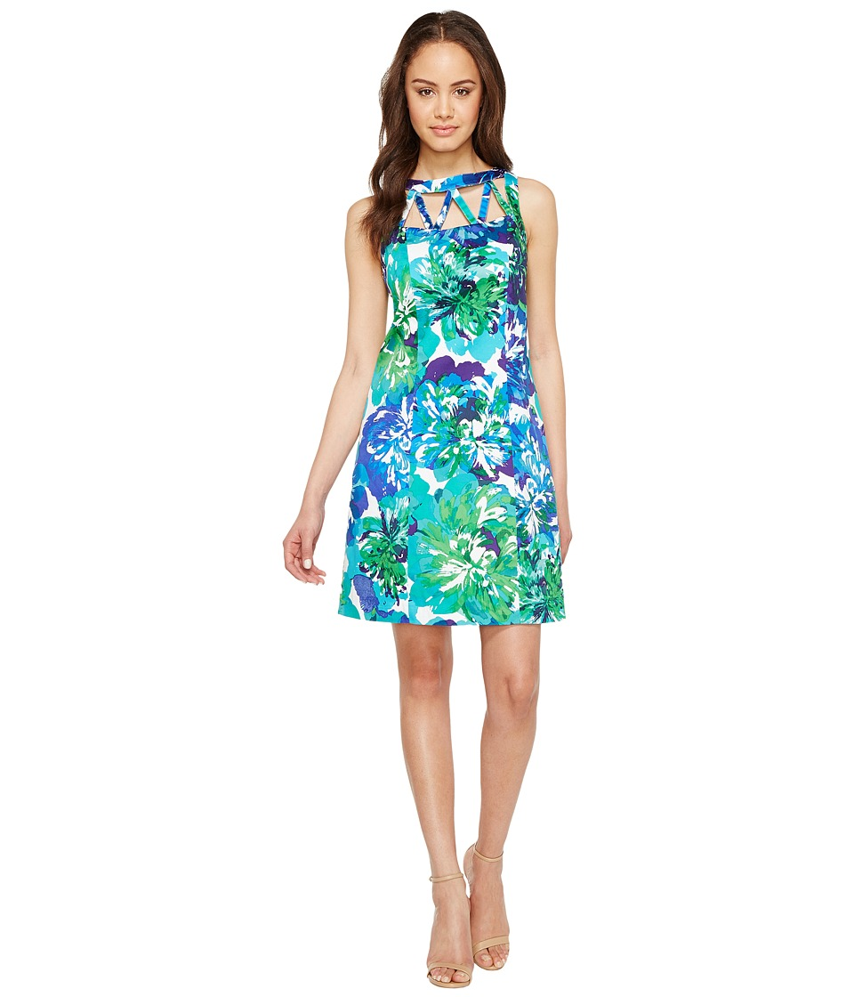 Adrianna Papell Adrianna Papell - Printed Stretch Cotton A-Line Shift Dress