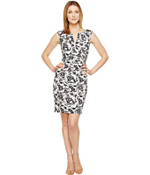 Adrianna Papell - Printed Stretch Cotton Side Drape Sheath Dress