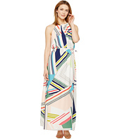 Adrianna Papell - Printed Striped Maze Georgette Halter Maxi Dress