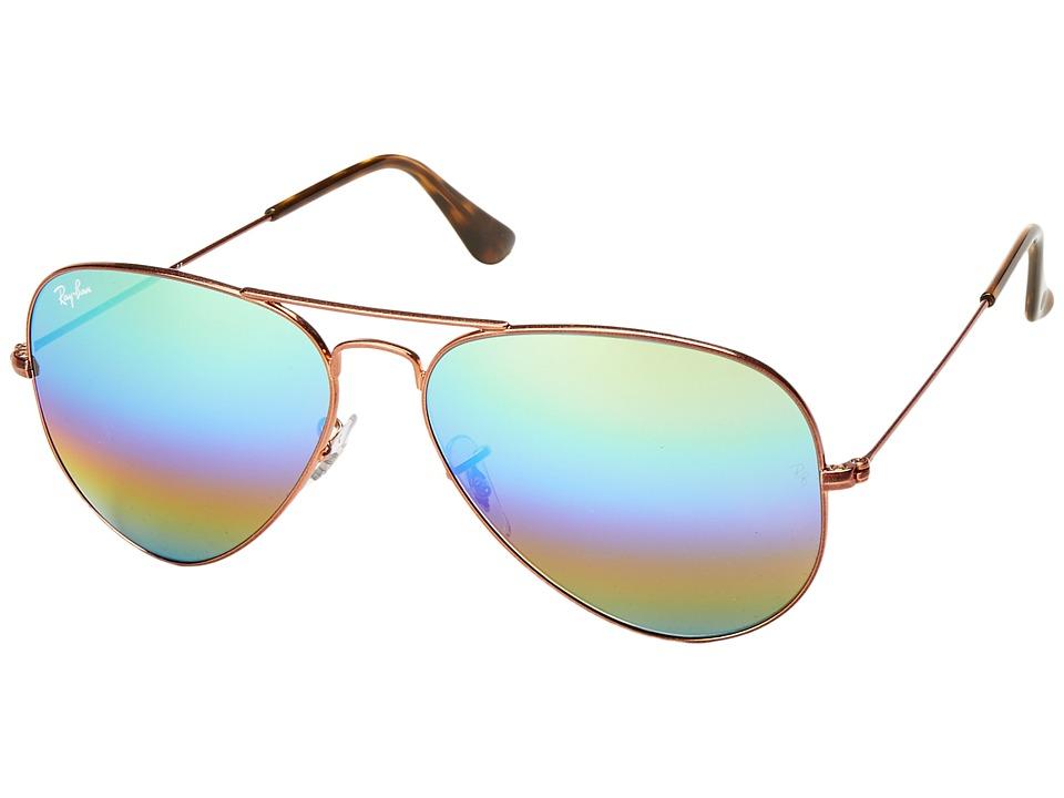 Ray-Ban RB3025 Original Aviator 58mm (Meduim Bronze/Green/Blue/Gold Rainbow Mirror) Metal Frame Fashion Sunglasses